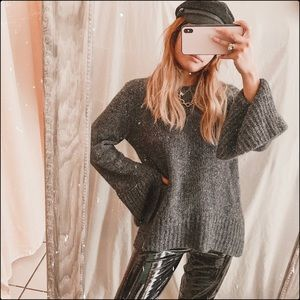 Ann Taylor dark grey chunky knit cashmere sweater